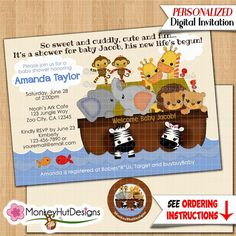 SS Noah's Ark Baby Shower Invitations S.S. Noah boys by monkeyhut