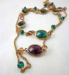 Vintage Monet Collet Set Necklace Long Guard Chain Bezel Gold Maroon Green 748 #Monet #StrandString