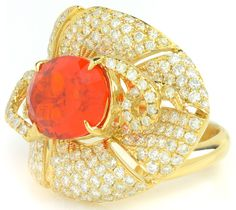 2.57 ct Fire Opal Oval & 1.83 ctw Diamond Round 14K Yellow Gold Ring Size 6.75