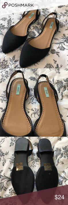 ✨NWOT Kimchi Blue Black Canvas Sling Back Flats Kimchi Blue NEW Slingback Black Canvas Flats! Pointed toe, never worn outside. Size 8! From Urban Outfitters. Kimchi Blue Shoes Flats & Loafers