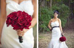 Dark + Romantic wedding flowers- bridal bouquet of crimson red roses