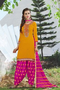 Traditional Wear Yellow Cotton Salwar Suit - 71411