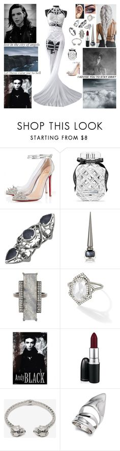 """""""✝ Mama, put my guns in the ground. I can't shoot them anymore. That cold black cloud is comin' down. Feels like I'm knockin' on heaven's door. Knock-knock-knockin' on heaven's door. ✝"""" by blueknight ❤ liked on Polyvore featuring Christian Louboutin, Victoria's Secret, Stephen Webster, ADORNIA, MAC Cosmetics, Alexander McQueen, Alexis Bittar and Fantasia by DeSerio"""