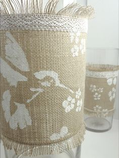 stencil on burlap with white paint