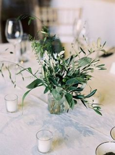 12 Simple White and Green Wedding Centerpieces on A Budget - EmmaLovesWeddings simple greenery wedding centerpiece ideas with candles. Spring Wedding Centerpieces, Branch Centerpieces, Greenery Centerpiece, Wedding Flower Arrangements, Wedding Bouquets, Wedding Decorations, Centerpiece Ideas, Wedding Ideas, Budget Wedding