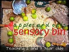 Teaching 2 and 3 Year Olds: Fall Apple Sensory Bin