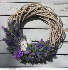 Lavender Crafts, Lavender Wreath, Lavender Flowers, Silk Flowers, Purple Flowers, Dried Flowers, Diy Wreath, Door Wreaths, Grapevine Wreath