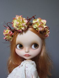 Blythe Yellow and Pink Roses Hair Wreath by moma10 on Etsy