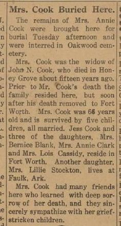 Scan of Obituary