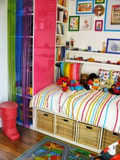 Materials: 1 Expedit shelving unit, 2 Expedit Cubes, 1 Pax, 1 Billy + height extension unit Description: My 3 years old son needed a big bed, but he's got a very small room. I have to find something to store toys, books and clothes, and I've found the idea on Ikeahackers here. Step 1 : [&hellip