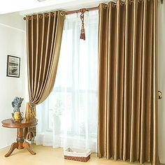 (One Panel) Classic Embossed Brown Blackout Curtain  – USD $ 19.99