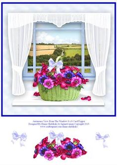 Anemones View From The Window 8 x 8 Card Topper on Craftsuprint designed by Elaine Sheldrake - Lovely Anemone flowers in a pretty green basket and a beautiful view of the rolling Devonshire countryside behind them. - Now available for download!