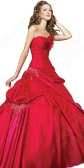 BallGown Sweetheart Satin Floor-length Red Pick-Ups Quinceanera Dress