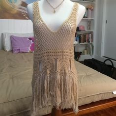 Boho chic tank Bought from Cinnamon Girl on Oahu. Meant to be worn with a cami underneath. Super cute! Skirt sold separately. Tops Tank Tops