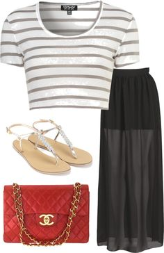 Eleanor Calder inspired outfit for going out shopping with a black maxi skirt    Cotton shirt / Maxi skirt / Crystal sandals, $55 / Chanel quilted bag