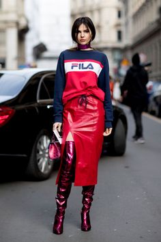 Fila Sweatshirt | Over The Knee Boots |Red Leather Skirt | Athletic Cool Style
