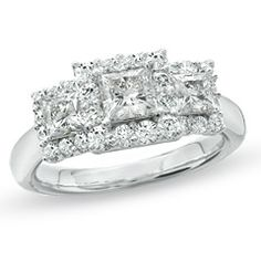 1-1/2 CT. T.W. Princess-Cut Celebration 102™ Diamond Three Stone Framed Ring in 18K White Gold (I/SI2) - View All Rings - Zales