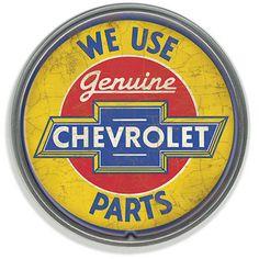 Chevrolet Parts Round Tin Sign Nostalgic Metal Sign Chevy Retro Garage Decor Logo Velo, Chevrolet Parts, Chevrolet Logo, Buick, Logos Retro, Garage Art, Garage Signs, Garage Ideas, Small Garage