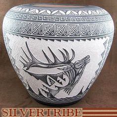 Authentic Acoma Pottery - Hand Etched Elk Pot by Native American Artist R.N. Sanchez KS51271
