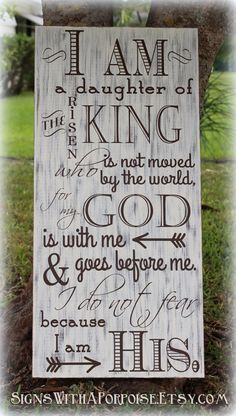 I Am His sign, Hand Painted Chalkboard Style Sign Distressed Wood, Typography Word Art, I am Daughter of King, Christian Sign (Favorite Words Christian) Christian Signs, Christian Quotes, Christian Decor, Bible Quotes, Bible Verses, Scriptures, Usmc Quotes, Quotes Quotes, Prayer Room
