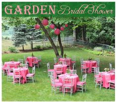 Garden Bridal Shower on http://pizzazzerie.com  but w/ blue instead of pink