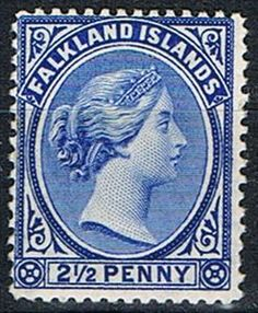 Falkland Islands Stamp 1894 2 1-2d Deep Ultram SG30c Fine Mint
