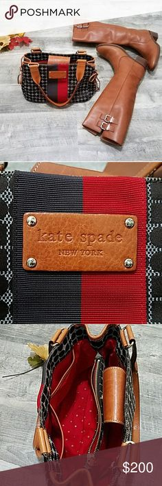 "EUC Kate Spade Handbag Red and gold pocka dot lining, lots of pockets, two separate compartments, leather is in excellent condition and silver hardware.   Approximately 12"" x 7.5"" across and 5"" wide kate spade Bags"