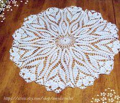 Lace Tablecloth Crocus Flower Doily by amydscrochet on Etsy, $37.00