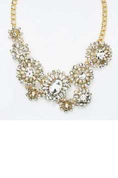 Bouquet Statement Bib - clear glass crystal floral necklace