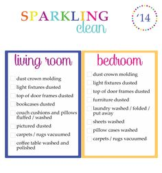 clean your room | And here is the list for the bedrooms and living room.