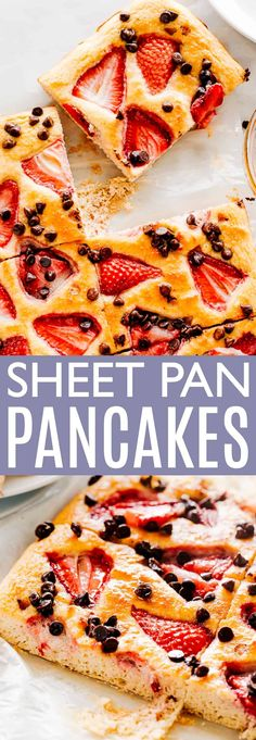 Sheet Pan Pancakes Recipe Sheet Pan Pancakes – Golden, fluffy, and delicious giant pancake baked in the oven! Sheet Pan pancakes are perfect for feeding a crowd and they are ready in under 30 minutes. Brunch Recipes, Breakfast Recipes, Pancake Recipes, Pancake In A Pan Recipe, Breakfast Ideas, Oven Pancakes, Waffles, Fruit Pancakes, Pancakes From Scratch