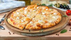 Pizza 'Four cheeses' Vegetable Pizza, Cheese, Dishes, Vegetables, Food, Basket, Kitchens, Plate, Meal