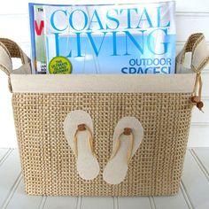 Coastal Flip Flop Design Fabric Storage Basket.