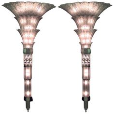 Monumental Pair of French Art Deco Glass Sconces by Sabino | From a unique collection of antique and modern wall lights and sconces at https://www.1stdibs.com/furniture/lighting/sconces-wall-lights/ Monumental Pair of French Art Deco Glass Sconces by Sabino  Offered By Newel LLC  $350,000