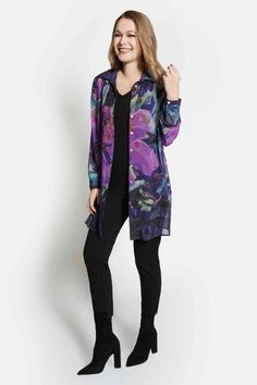 Hibiscus at Night Chiffon Blouse by Claire Desjardins. #clairedesjardins #clairedesjardinsart #ClaireDesjardinsApparel #DesignerJacket #JeanJacket #cami #WomensApparel #WearableArt #designerclothing #apparel #designerapparel #artandfashion #fashionandclothing #artonclothing #abstractart #abstractpainting #designerclothes #womensapparel #Tunic #Dress #Jacket #MotoJacket #WomensTop #Scarf #Dress #Blouse
