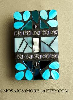 Blue and Organic  SINGLE Mosaic Light Switch Cover by MOSAICSnMORE