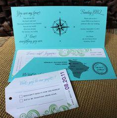 Travel Themed Airline Ticket Wedding Invitation