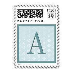 Aqua Blue Flower Damask Monogram Wedding Stamp