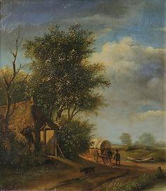 SCHEUREN, CASPAR JOHANN NEMPOMUK - zugeschrieben, Reisender mit Planwagen auf einem Feldweg.