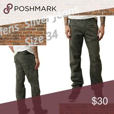 Mens Jeans by Silver Items have minor imperfections::Buttons Missing  (Reason item is priced low)  New Men's Jeans  Designer: SILVER  Style: Allan - Classic Fit  Tag Size: W34 L32  Color: Dark Olive  Material: 98% Cotton Retail: $99.00 Silver Jeans Jeans