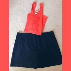 Vince Camuto navy shorts Size 14, hidden zipper, poly/rayon/spandex. 2 front pockets. Can be worn casual or dressy. Vince Camuto Shorts