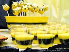 Lots of ideas for a budget friendly bee theme party - including food, decorations, outfit suggestions,party favors, invi Party Food On A Budget, Bee Party Favors, Party Invitations, Bee Food, Bumble Bee Birthday, Bee Gender Reveal, Baby Shower Themes, Shower Ideas, Party Ideas