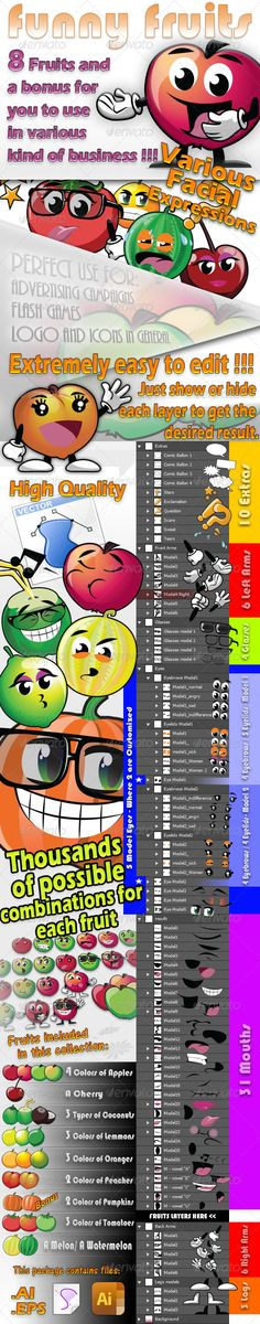 8 Fruits Creation Kit  #GraphicRiver         Collection of eight fruit and a bonnus where you customize the way you want.   Perfects objects for use on banners, advertisements, advertising, comics, flash games, pattern for packaging of various products and more   File containing all necessary customization using only a mouse click to show or hide each object that is easily distributed in layers.     Created: 13September13 GraphicsFilesIncluded: AIIllustrator Layered: Yes…
