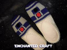 R2-D2 Slippers- hand knitted and inspired by Star Wars. $30.00, via Etsy.