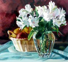 Azaleas & Fruit Basket by Jan Kunz
