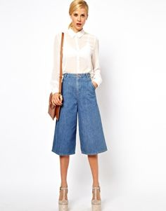 ASOS Denim Culottes in Vintage True Blue