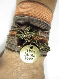 Live Laugh Love Bohemian Silk Wrap Bracelet Hamsa Dragonfly Earthy Wrap Bracelet Yoga Jewelry Boho Chic Jewelry Unique Birthday Gift For Her...