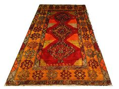 VINTAGE ORANGE TULU SHAGGY Turkish Kilim Carpet Rug Ancien Tapis Turc