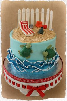 I like the piping on the waves to make it realistic.  Day at the Beach  Cake by Alwayswithcake