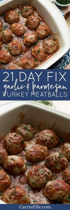 21 Day Fix Garlic Parmesan Turkey Meatballs (with Weight Watchers Points – Keto-friendly!) - 21 Day Fix Garlic Parmesan Turkey Meatballs (gluten-free) - Clean Eating Recipes, Healthy Eating, Cooking Recipes, Healthy Recipes, Healthy Food, Paleo Dinner, Dinner Recipes, Dinner Ideas, Ground Turkey Recipes